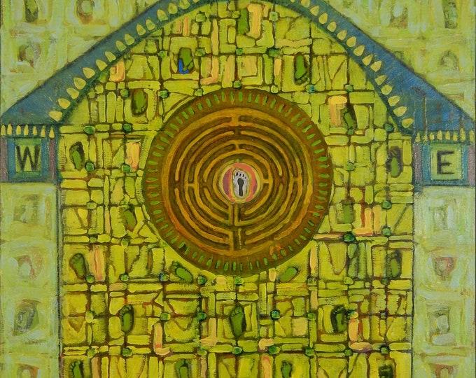 """Acrylic painting entitled """"Birdhouse Labyrinth"""""""