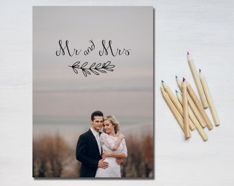 Simple mr and mrs Wedding thank you printable card - with photo