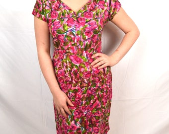 RARE 1950s 50s Vintage Floral Wiggle Dress