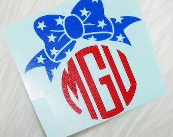 Patriotic Bow Monogram Vinyl Decal - Lilly Pulitzer Inspired