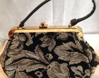 Black and beige needlepoint handbag
