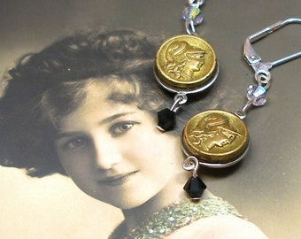 """Goddess, Antique BUTTON earrings. French buttons of Athena/Minerva. One of a kind jewellery, 2""""."""