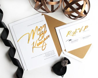 Gold and white Wedding Invitations / DIY Printable wedding invitations. Gold Brushed Wedding Invitation. Elegant wedding invitation