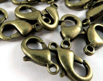 25 Lobster Clasps Antique Bronze Plated Alloy Trigger Clasp or Parrot Clasp 12x7mm - 25 pc - F4007LC-AB12