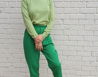 Soft Mint Green Vintage Mock Neck Long Sleeve
