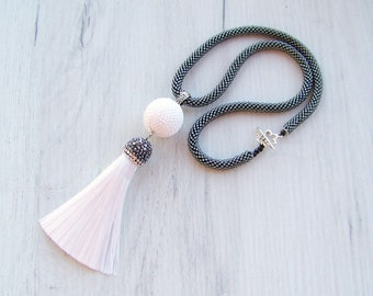 White Tassel Necklace - Long Silk Tassle Necklace - Summer White and shiny black Necklace - Statement Tassel necklace - tassel pendant