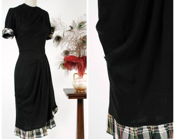 Vintage 1940s Dress - Gloriously Draped 40s Black Rayon Dress with Marvelous Skirt Treatment and Plaid Ruffles