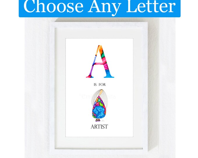 Painting / Art Print / Alphabet Letters Unique Gift / Children Kids / Nursery Baby Girl's Room / Angel Inspirational Home Decor Artwork