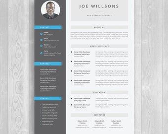 """Minimal resume / CV template for word / Two pages resume / """"ROBERT JOHN"""" Teacher resume / cv template / word resume/ Cover letter"""