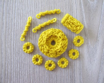 Fiberpunk Beads - Yellow - 11 Piece Set - Fiber Beads - Crocheted and Tatted Beads for Jewelry Making - Jewelry Components
