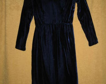 50s Blue Velvet Dress Petite Vintage