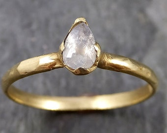 Fancy cut white Diamond Solitaire Engagement 18k yellow Gold Wedding Ring byAngeline 1104