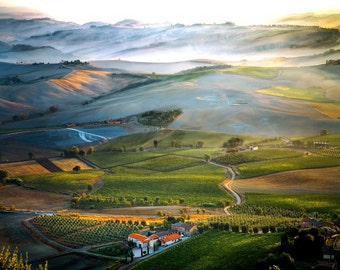 Misty Fields, Tuscan Landscape Photo, Val d' Orcia, Montalcino Italy Landscape, Tuscany Hilltown Art, Tuscan Wall Decor, Fine Art Photo