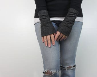 arm warmers. charcoal gray ribbed sweater fingerless gloves. Winter fashion accessory. sleeve extenders. fashion accessory gloves.