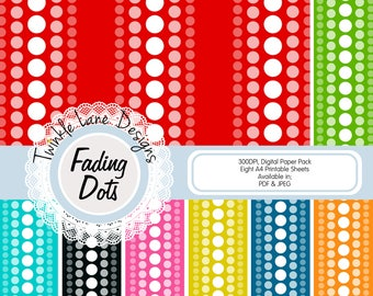 Vertical Dots, Digital Papers, Eight A4 Pages, Polka Dots, Dots, Paper Pack Dots, Circles, Gradient, Papercrafting Paper, Digital Paper Pack