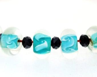 Hole 4mm 6 Beads Clear Green Flower Lampwork bead Candy flower lampwork Handmade jewelry designs European Style