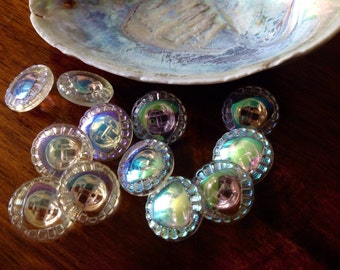 10 aurora borealis glass buttons - vintage - wonderful light effects (024)