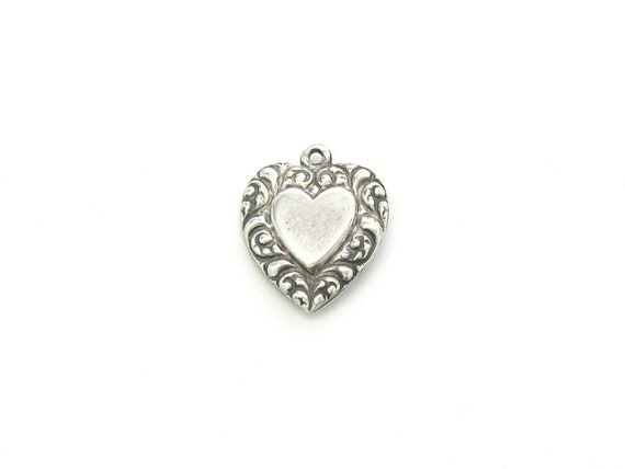 Vintage Victorian Revival Sterling Silver Heart Charm Pendant, c. 1940s WWII Sweetheart Jewelry