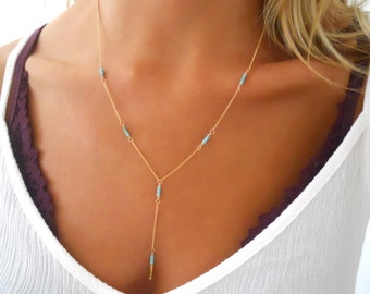 Gold And Turquoise Beads Y necklace, Gold Filled Turquoise Lariat Necklace, Delicate Gold and Beads Necklace, Layering Gold Filled Necklace