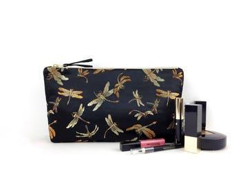 Chinese brocade dragonfly makeup bag / black, gold,