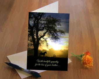 Sympathy Card, Loss of Brother, In Thoughts and Prayers, Horse and Oak Tree, Deepest Sympathy