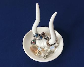 Ceramic Antler Ring Holder, Jewelry Holder, White Antler, White Ceramic, Minimalist Antler Ring Holder