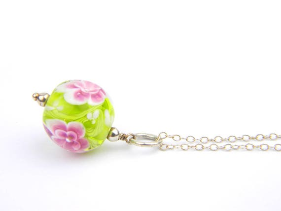 Art Glass Pendant - Medium Green and Pink Art Glass Bead Sterling Silver Pendant - Classic Collection
