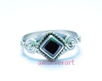 Black Onyx Ring, Black Stone Ring, Silver Ring, Black Silver Ring, Black Onyx Jewelry, Sterling Silver Ring,
