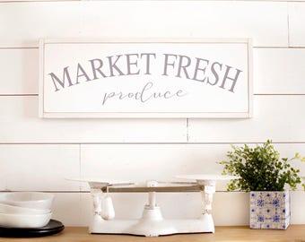 Market Fresh Produce sign | Wooden Kitchen Sign | Kitchen Sign Wood | Large Kitchen Sign