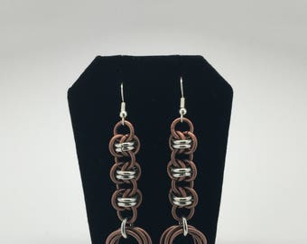 Antique copper and silver barrel weave chainmaille earrings