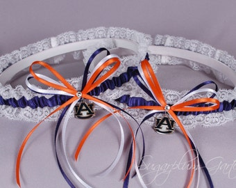 Auburn University Tigers Lace Wedding Garter Set