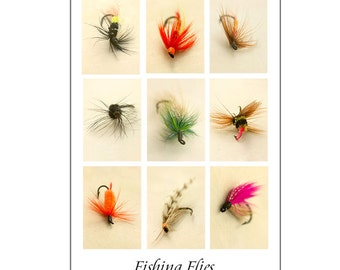 Fly Fishing Poster Art, Men's Gift, Retirement Gift for Men, Art for Men, Man Cave,  Husband's Gift, Fishing Flies