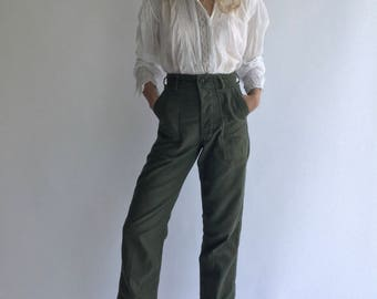 Vintage 25 26 27 28 29 30 31 32 33 34 36 38 40 Waist 60s 70s OG 107 Olive Green Army Pants | Trousers Vietnam Utility Fatigues see Size RUN