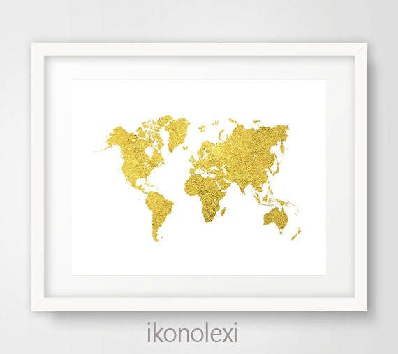 Gold world map world map wall art world map gold texture like this item sciox Gallery