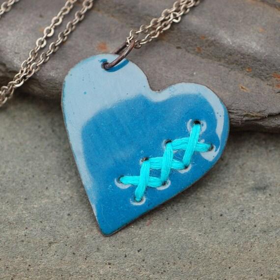 Hand Crafted Enamel House Necklace Pendant Copper Home: Mended Broken Enamel Heart Pendant Necklace Copper Enameled