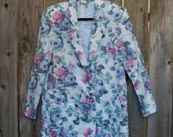 1990s Vintage Pastel Floral Jacket