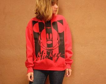 color block cut-out mid 90s Y2K MICKEY MOUSE red & black sweatshirt raglan oversize slouchy sweatshirt