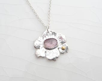 Pretty Pink Tourmaline Pendant - Sterling Silver with 14k Gold Accent - Poppy Necklace
