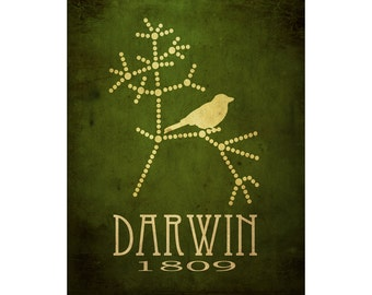 Charles Darwin Art 11x14, Science Artwork, Evolution Poster, Tree Of Life, Steampunk Rock Star Scientist Poster, Office Decor