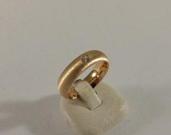 17.8 mm ring silver 925 pink gold gold plated brushed crystal stone SR202