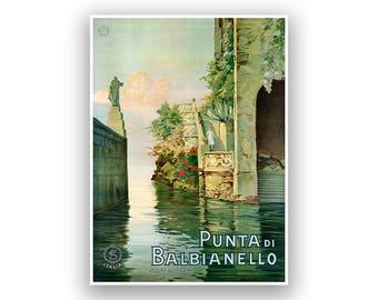 Italy Travel Poster, Lake Como, Italian Tourism Artwork, Vintage Restored Fine Art Print, Retro Decor, Large Sizes Available