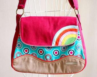 Ladies Messenger Bag, Crossbody Bag Women, Burgundy Bag, Fabric Crossbody Bag, Rainbow Bag, Rainbow Messenger Bag, Polka Dot Fabric