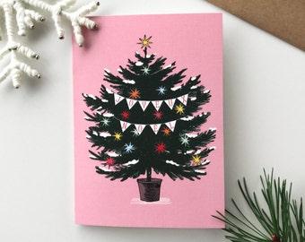 Christmas Card Oh Christmas Tree - Christmas Tree, Pine tree, Christmas Ornements, Christmas Decorations, Pastel Colours, Vintage Style