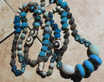 Caribbean Blue Hand Tied Necklace, Knotted Gemstone Boho Jewelry, Layering Jewelry, Beaded Necklace by Inarajewels