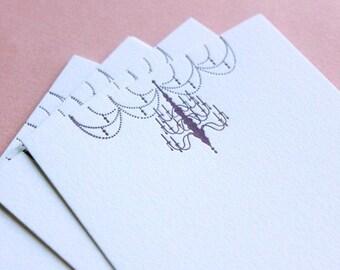 Nouveau Chandelier- Letterpress Printed Plum 4bar Flat Note  QTY/8
