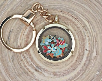 Gold confetti filled glass keychain/bag tag