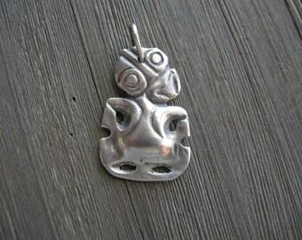 vintage mythological figure pendant, odd creature, solid, polished pewter, alien