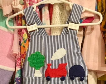 70s Train Overalls 18/24 Months