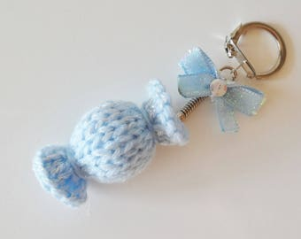 Keychain bag charm-shaped bright blue candy - wool - candy - candy-candy