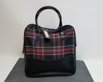 Bowling Bag - Mid Century Red/Black Plaid Bowling Ball Bag - Cloth & Vinyl Bowling Bag - Cool Tote Bag - Overnight Bag - 70's Bowling Bag
